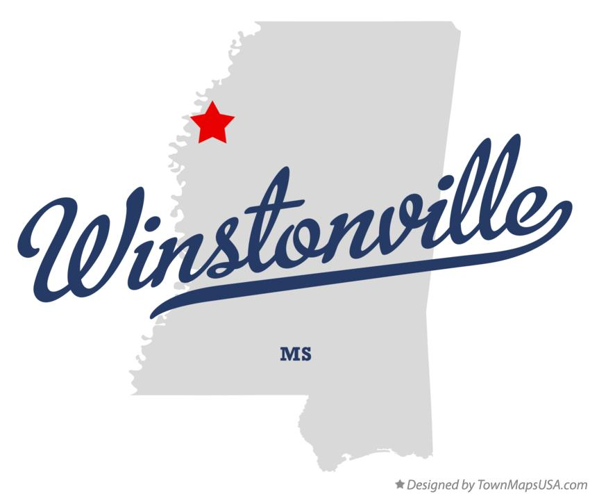 Map of Winstonville Mississippi MS