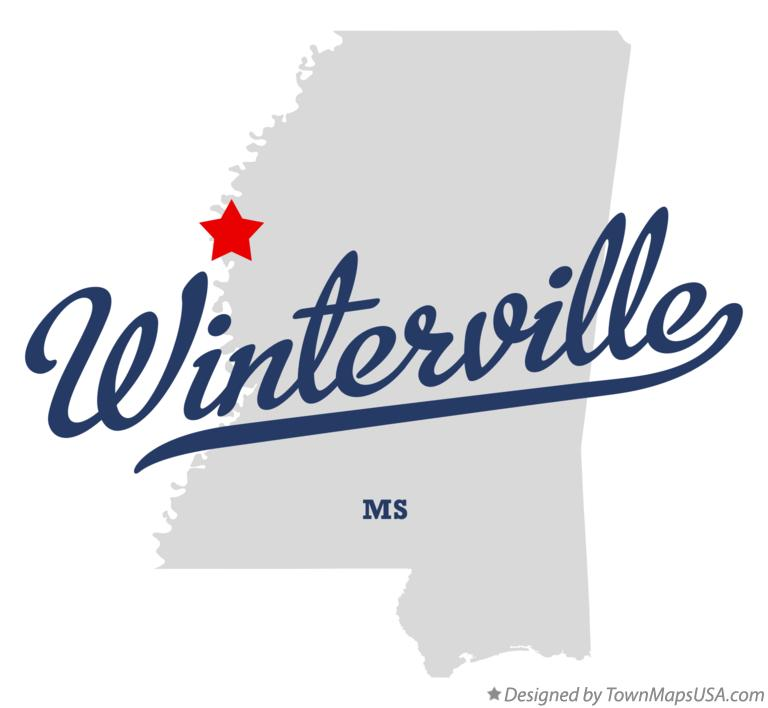 Map of Winterville Mississippi MS