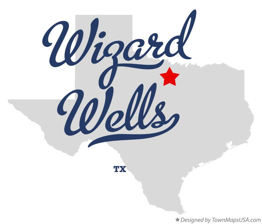 Map of Wizard Wells Texas TX