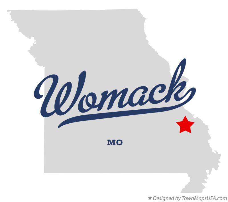Map of Womack Missouri MO