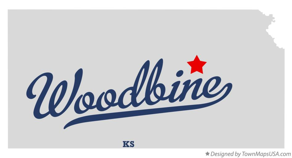 Map of Woodbine Kansas KS