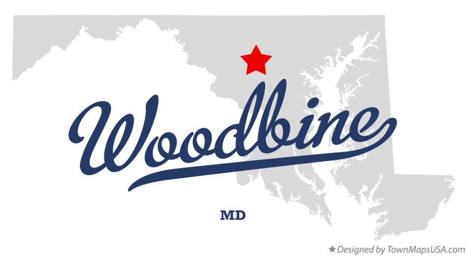 Map of Woodbine Maryland MD