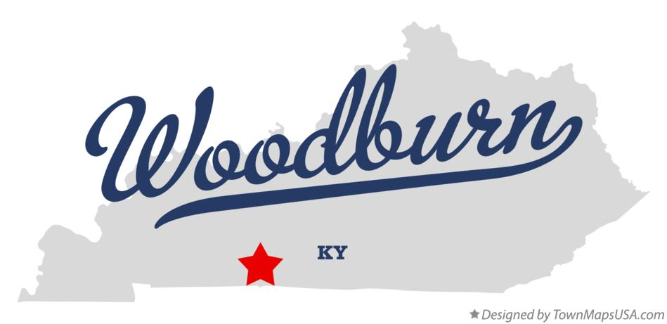 Map of Woodburn Kentucky KY