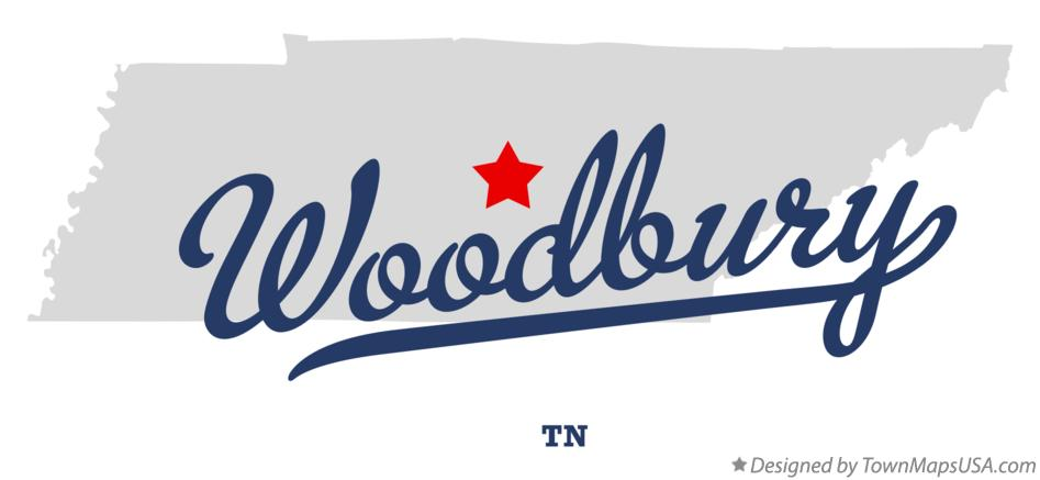 Map of Woodbury Tennessee TN