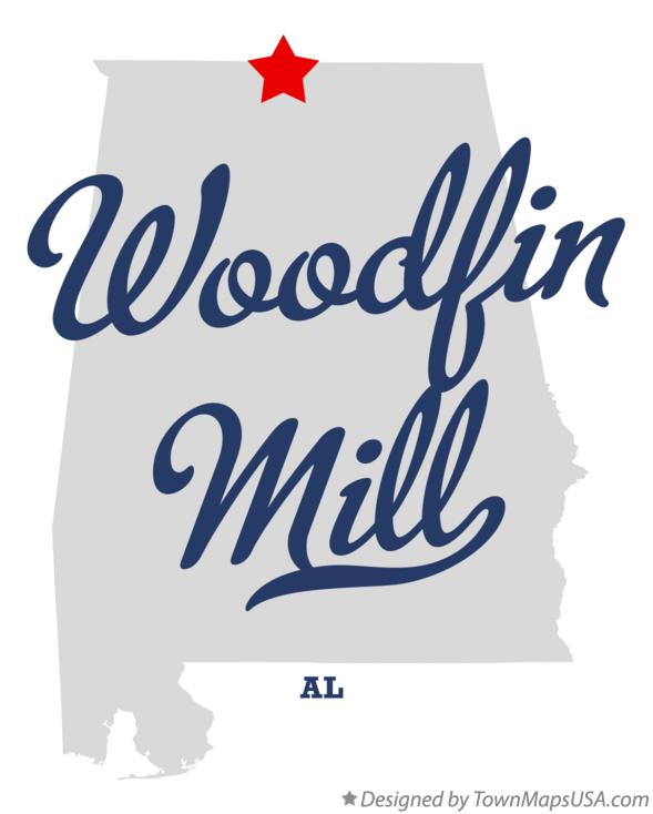 Map of Woodfin Mill Alabama AL