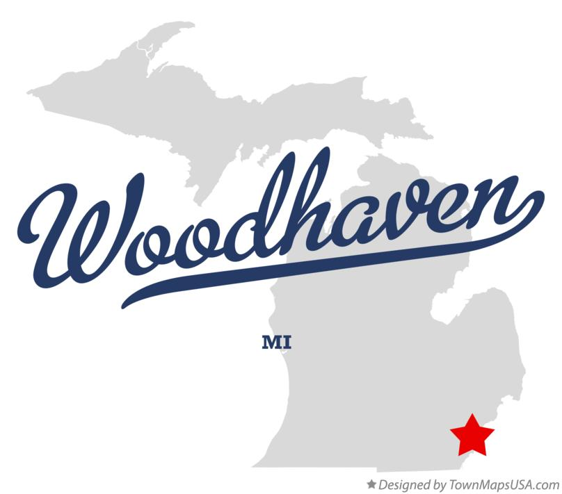 Map of Woodhaven Michigan MI