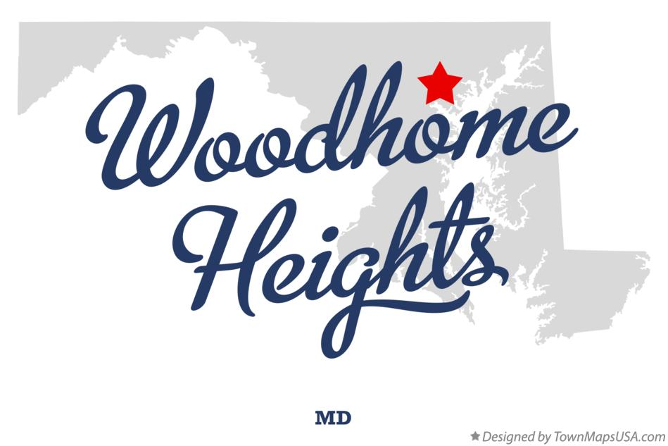 Map of Woodhome Heights Maryland MD