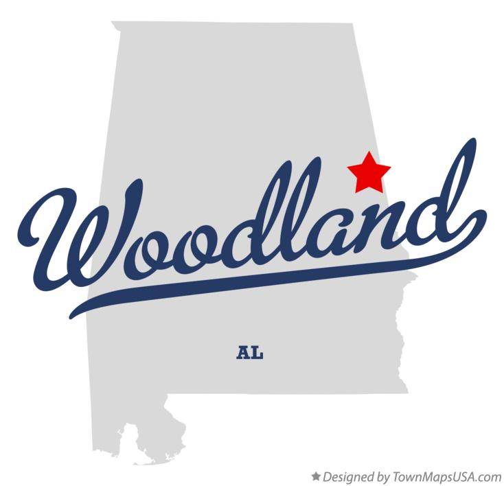 Map of Woodland Alabama AL