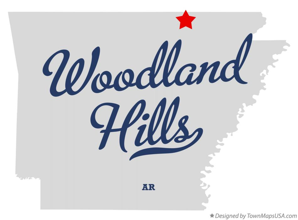 Map of Woodland Hills Arkansas AR