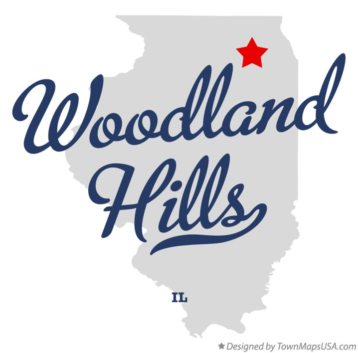 Map of Woodland Hills Illinois IL