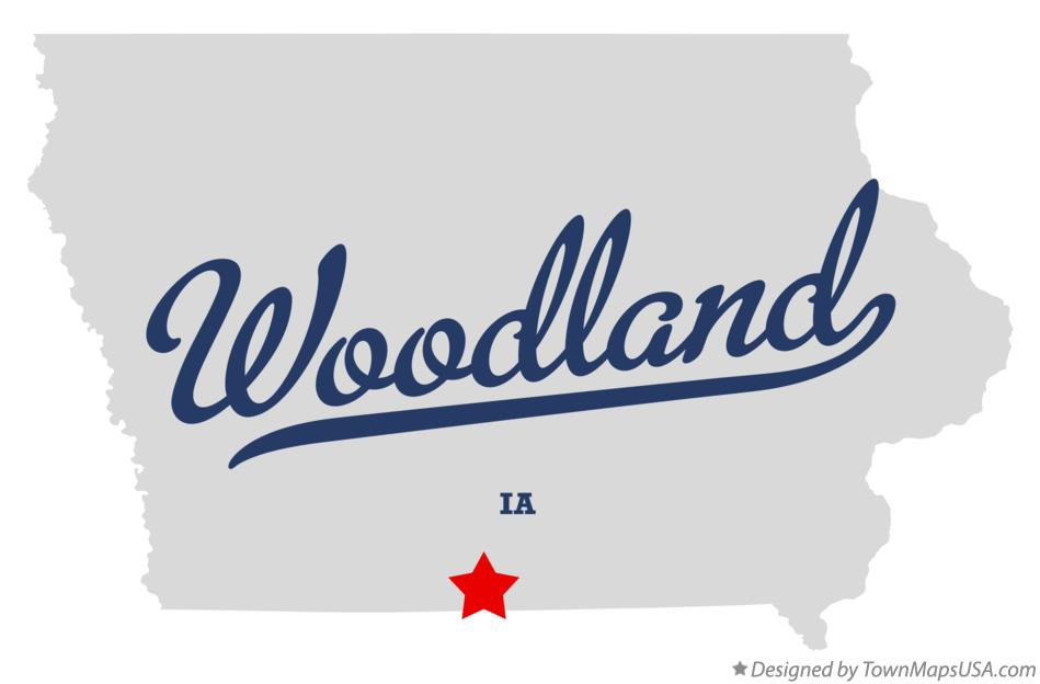 Map of Woodland Iowa IA
