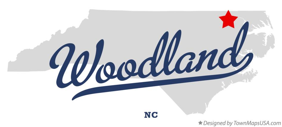 Map of Woodland North Carolina NC
