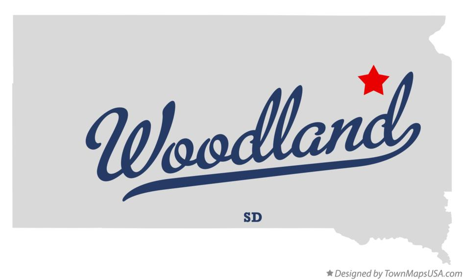 Map of Woodland South Dakota SD
