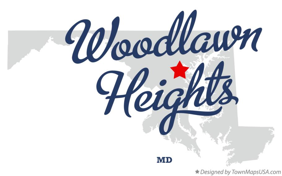 Map of Woodlawn Heights Maryland MD