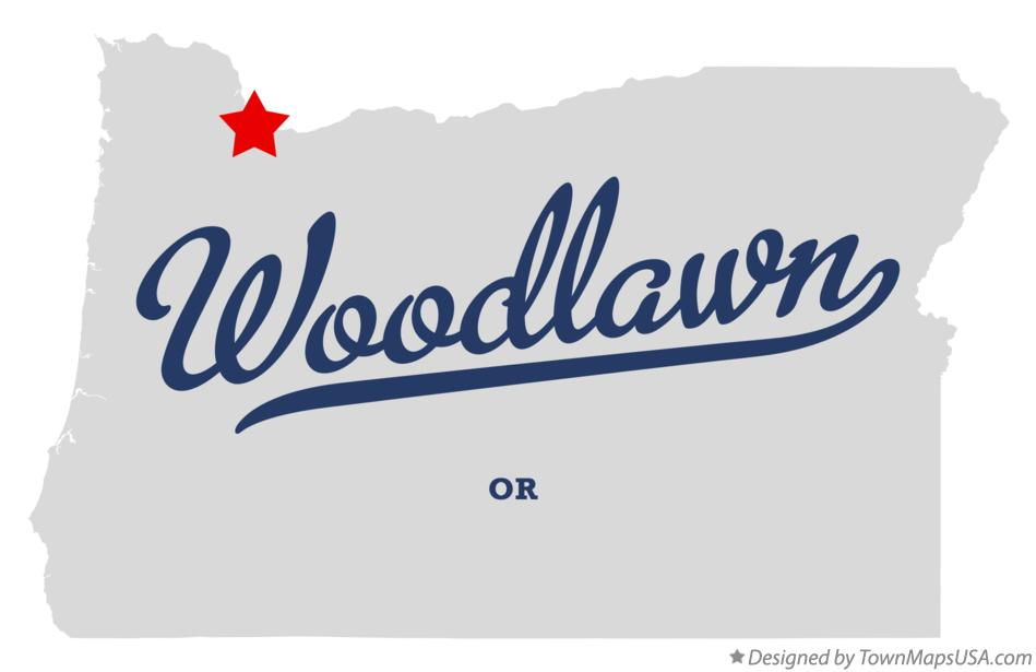 Map of Woodlawn Oregon OR
