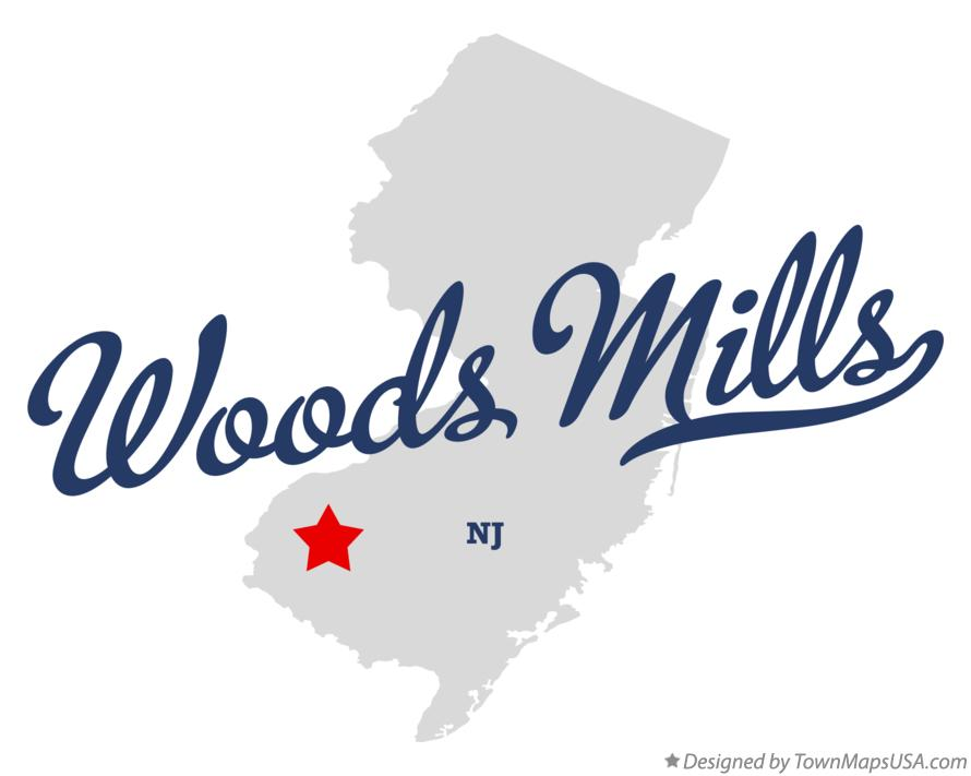 Map of Woods Mills New Jersey NJ