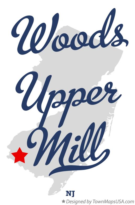 Map of Woods Upper Mill New Jersey NJ