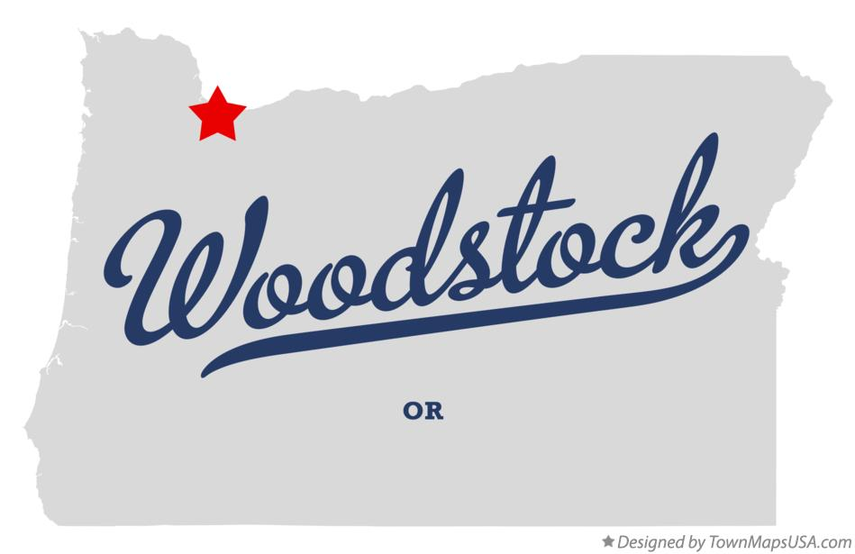 Map of Woodstock Oregon OR