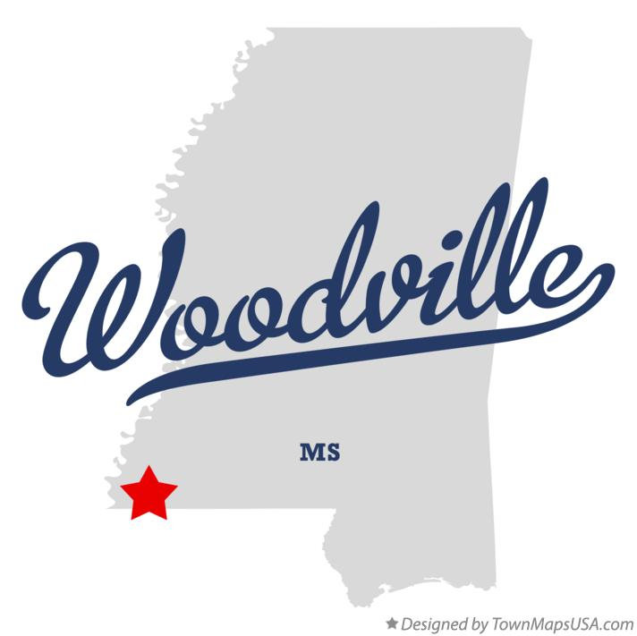 Map of Woodville Mississippi MS