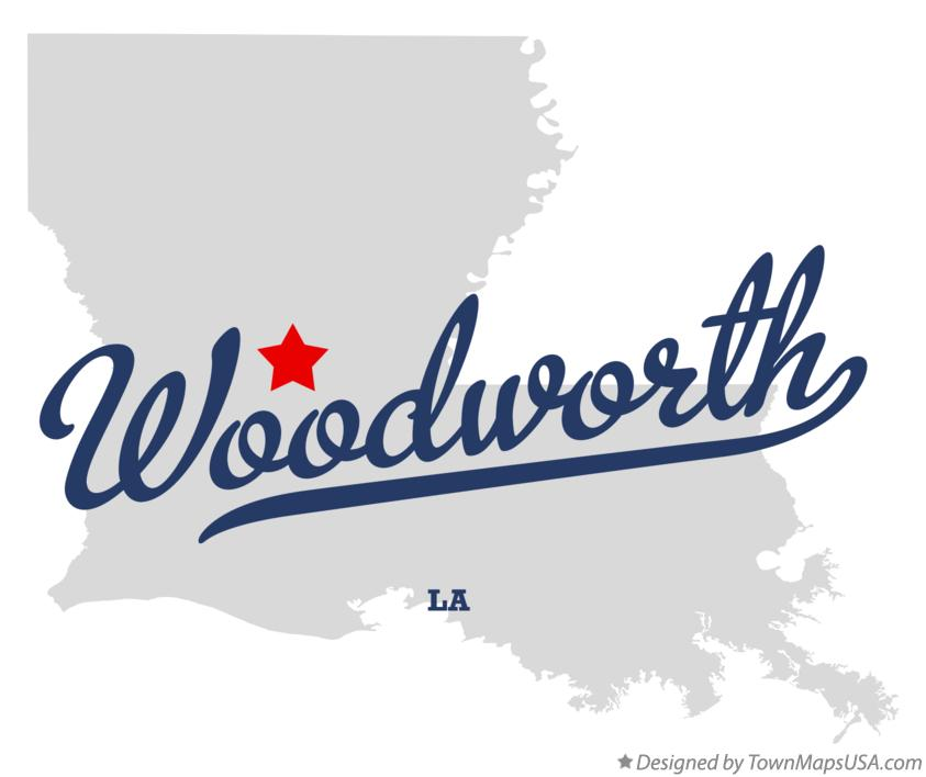Map of Woodworth Louisiana LA
