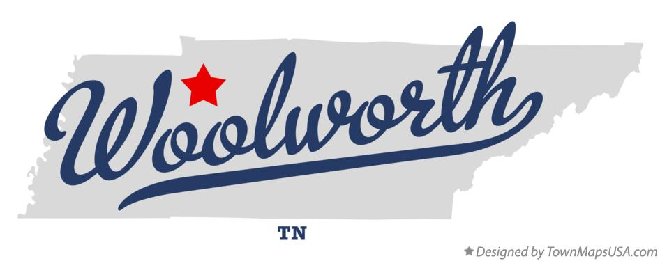 Map of Woolworth Tennessee TN