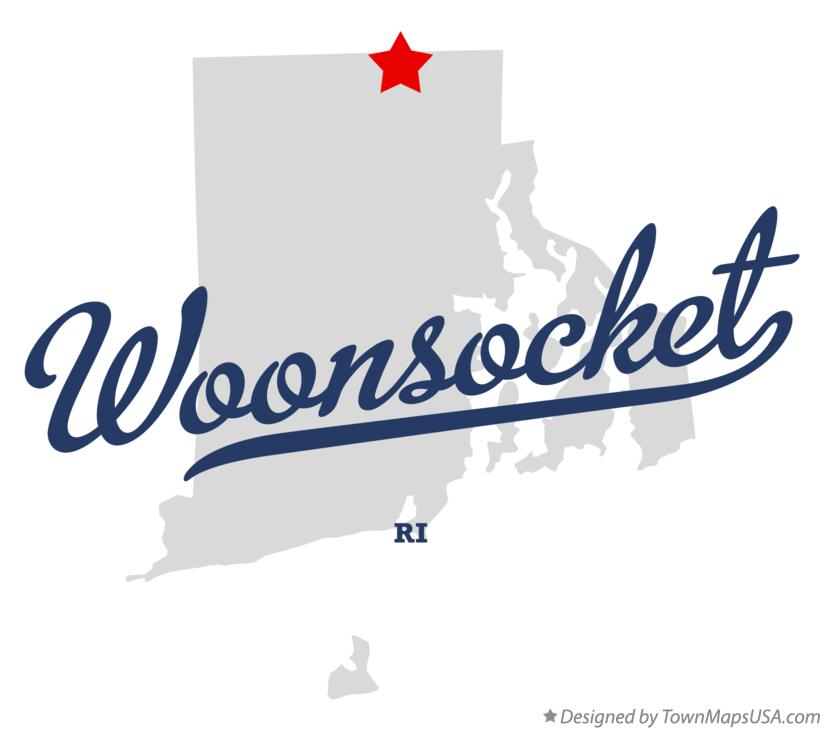 Map of Woonsocket RI Rhode Island