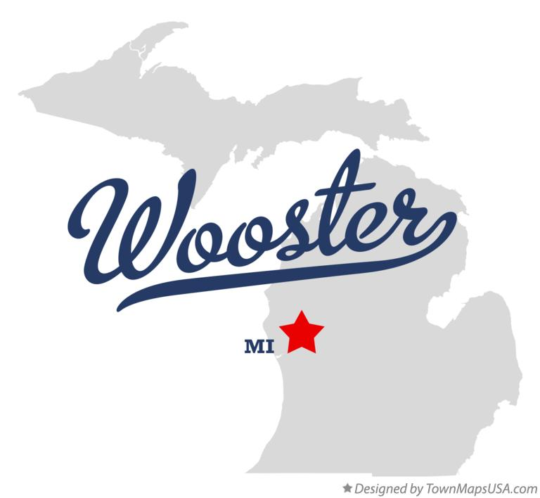 Map of Wooster Michigan MI