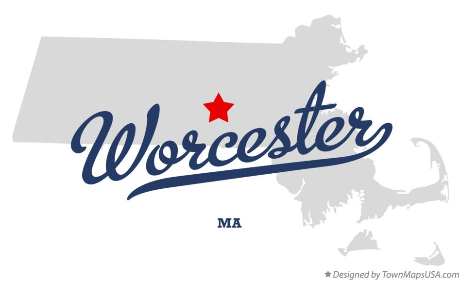 Map of Worcester Massachusetts MA