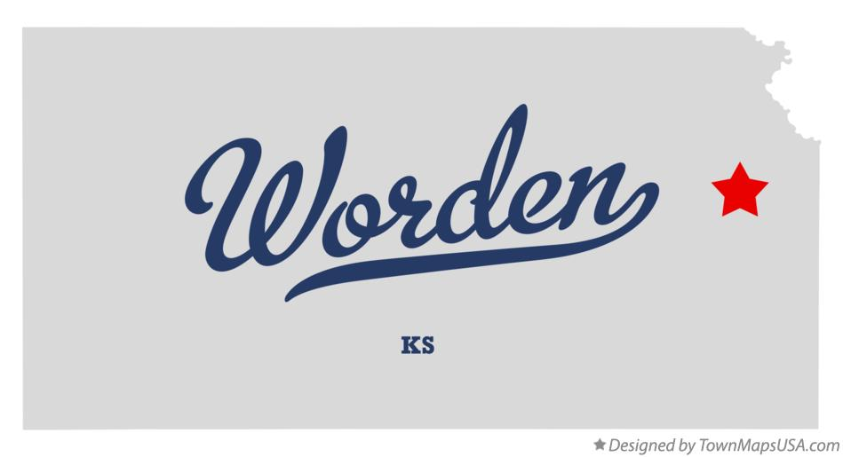 Map of Worden Kansas KS