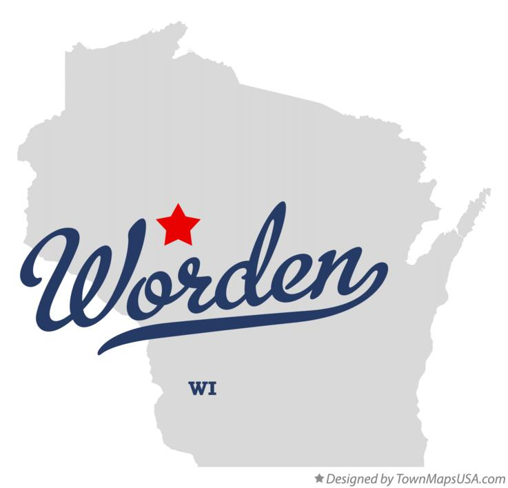 Map of Worden Wisconsin WI