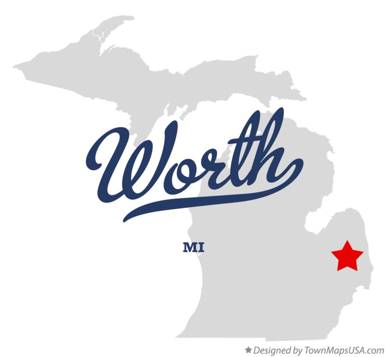 Map of Worth Michigan MI