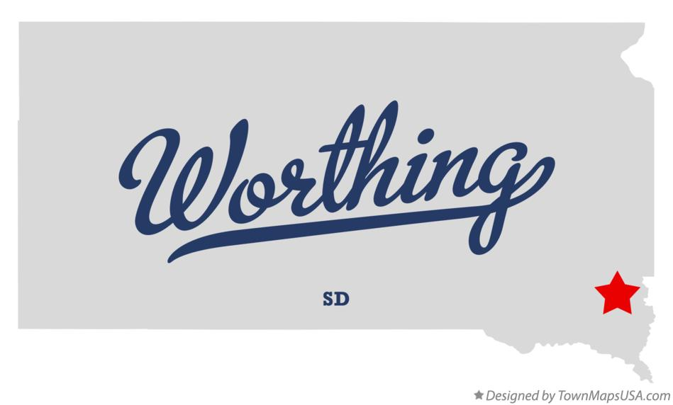 Map of Worthing South Dakota SD
