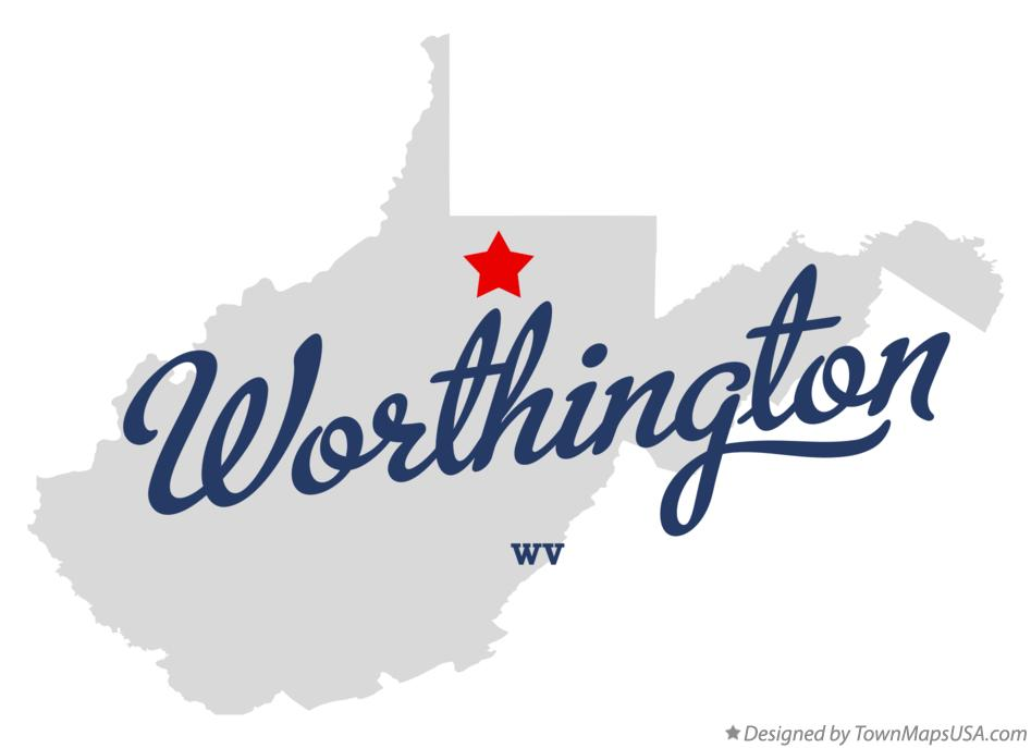 Map of Worthington West Virginia WV