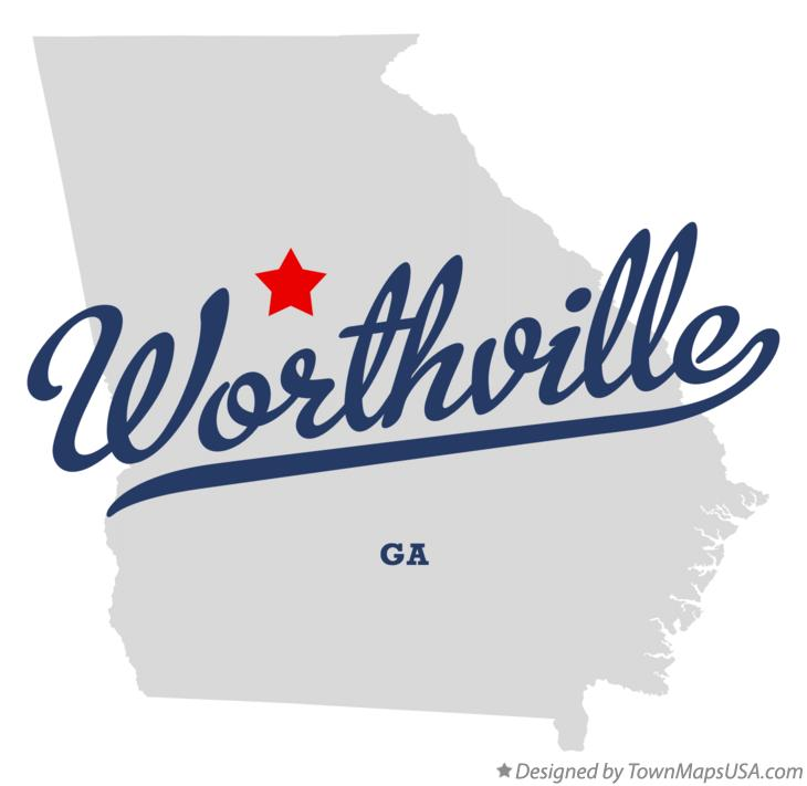 Map of Worthville Georgia GA