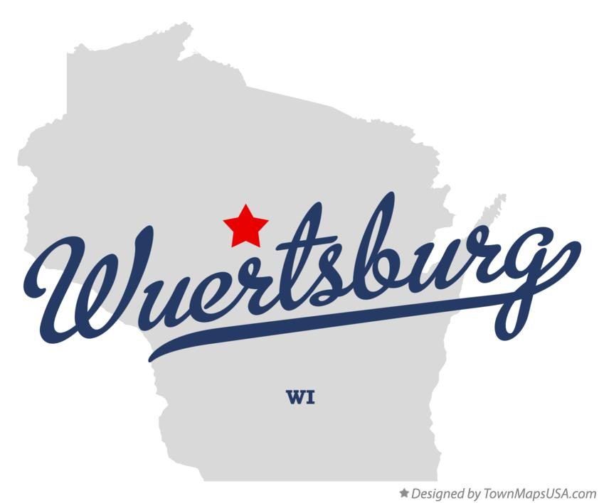 Map of Wuertsburg Wisconsin WI