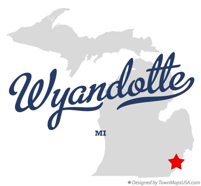 Map of Wyandotte Michigan MI