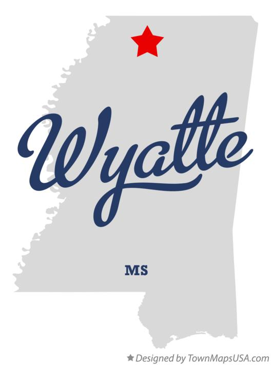 Map of Wyatte Mississippi MS