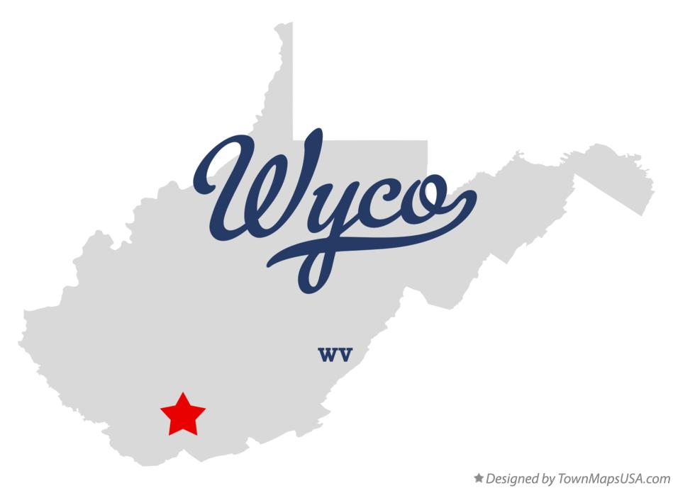 Map of Wyco West Virginia WV