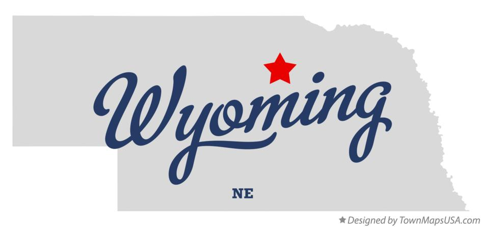 Map of Wyoming Nebraska NE