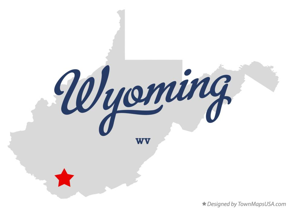 Map of Wyoming West Virginia WV
