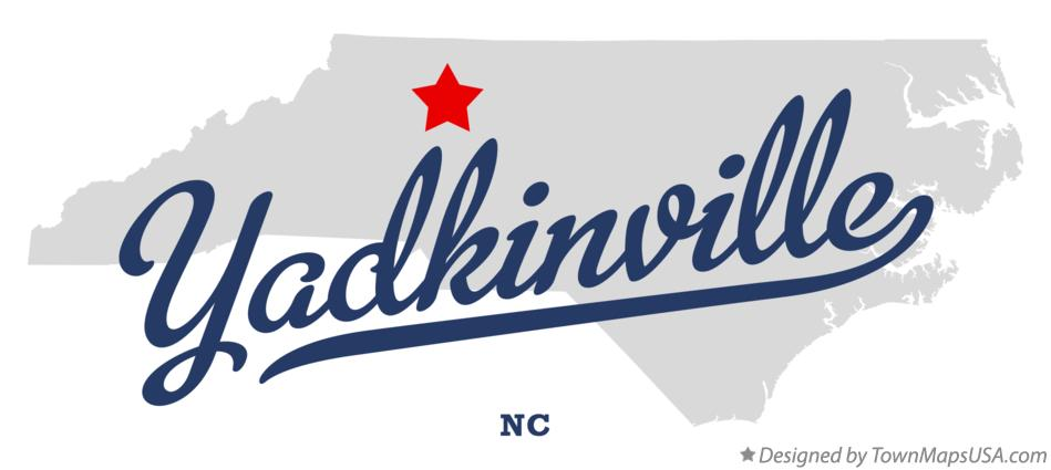 Map of Yadkinville North Carolina NC