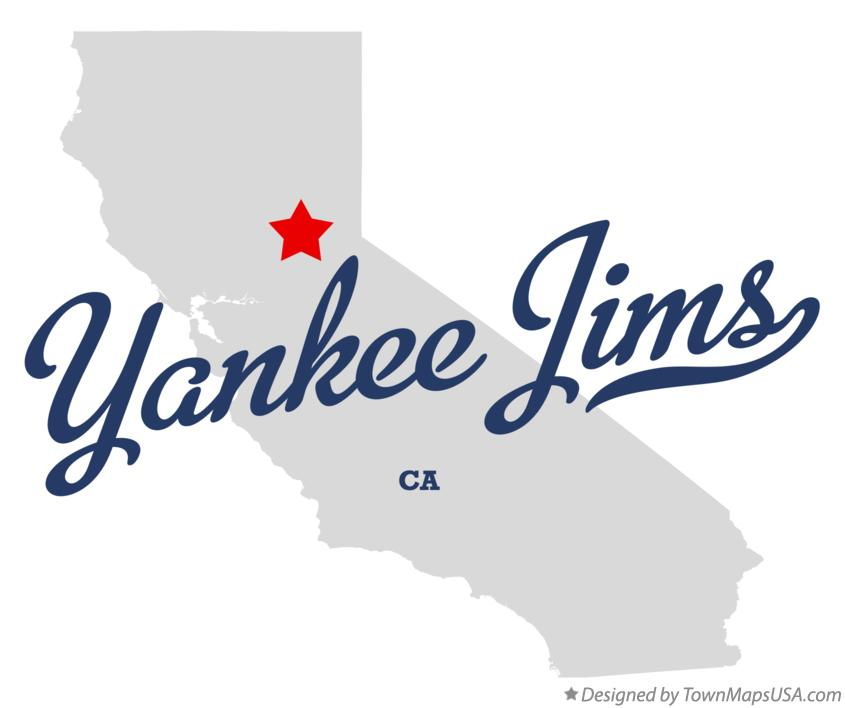 Map of Yankee Jims California CA