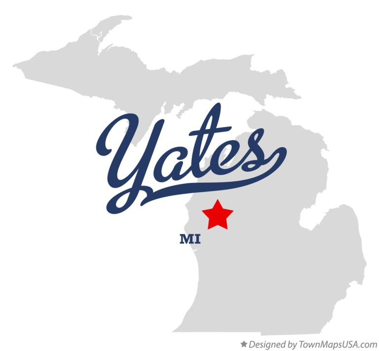 Map of Yates Michigan MI