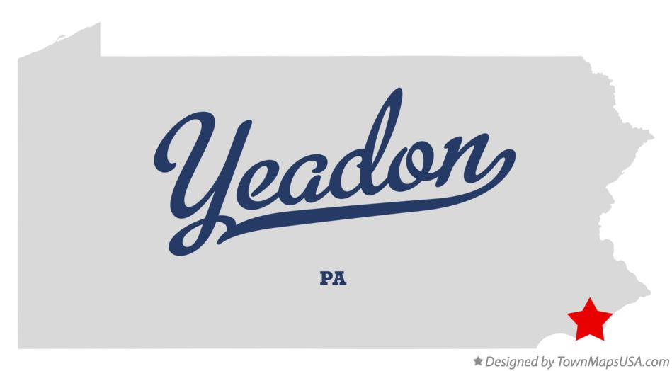 Map of Yeadon Pennsylvania PA