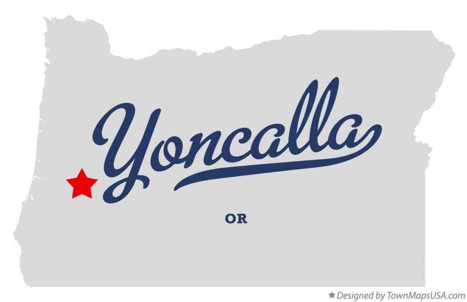 Map of Yoncalla, OR, Oregon