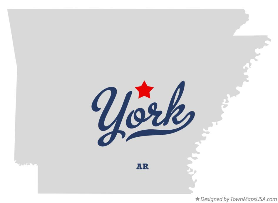 Map of York Arkansas AR