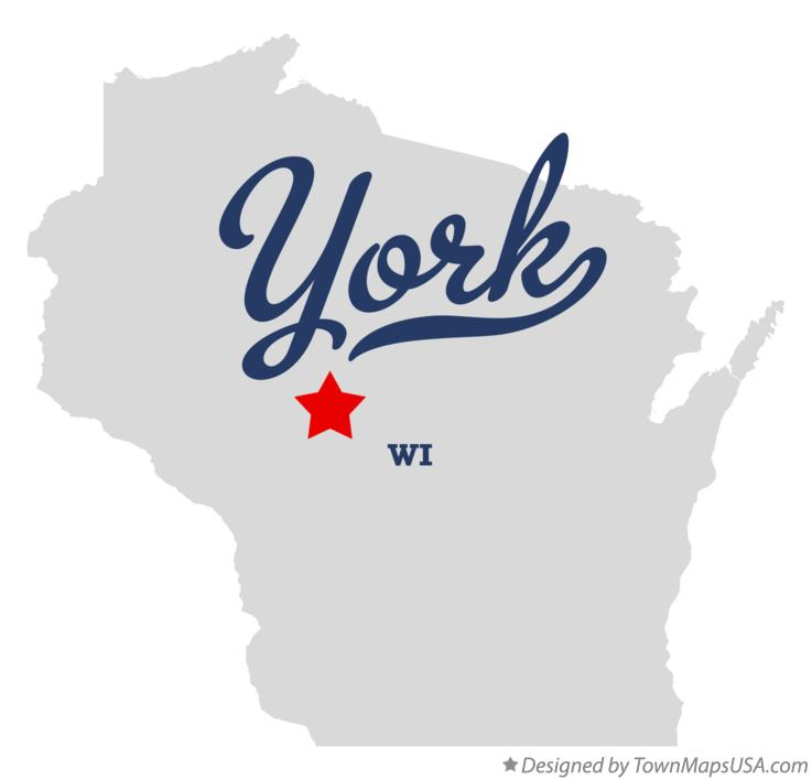 Map of York Wisconsin WI