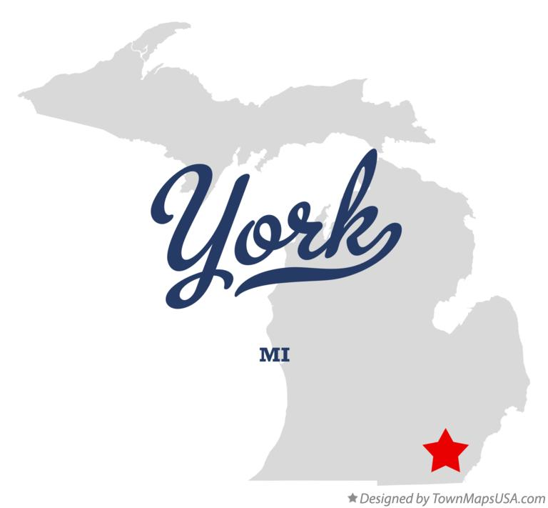 Map of York Michigan MI