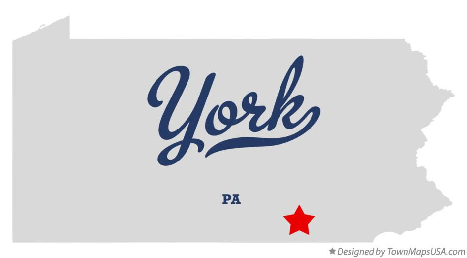 Map of York Pennsylvania PA