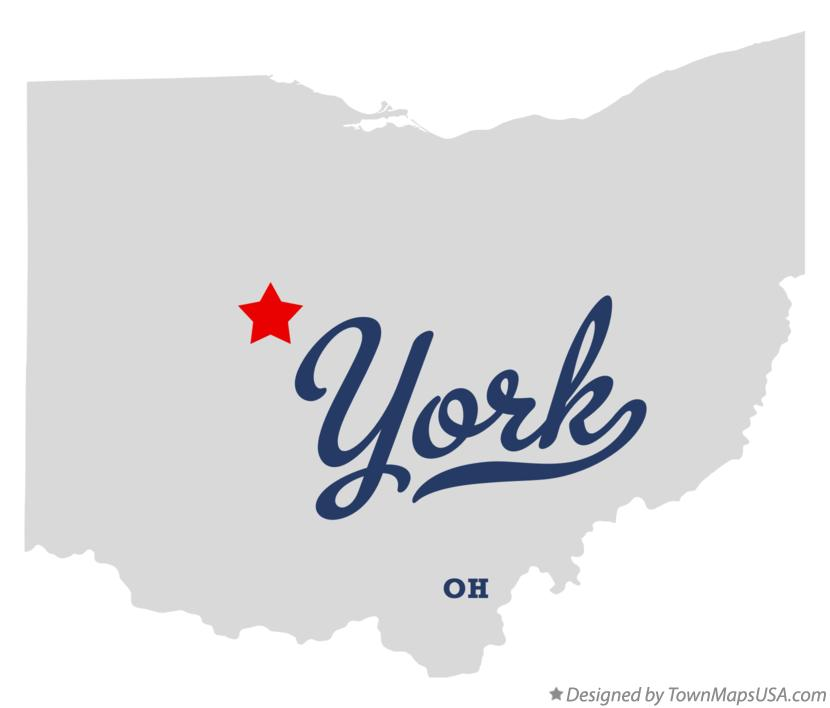 Map of York Ohio OH